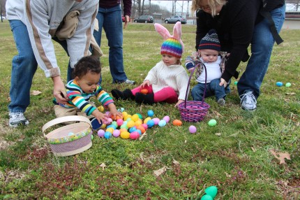 Easter Egg Hunt at Shelby Park.  The previous year, the hunt was at Ginger and Holly's in White House.